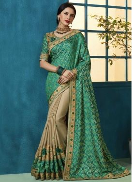 Jacquard Beige and Sea Green Half N Half Designer Saree