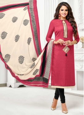 Jacquard Black and Rose Pink Lace Work Churidar Suit