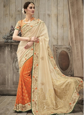 Jacquard Cream and Orange Beads Work Half N Half Trendy Saree