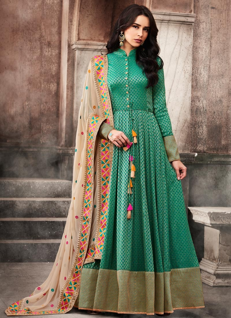 22d1febe92 Shop Jacquard Long Length Anarkali Salwar Suit Online