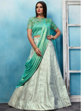 Jacquard Off White and Turquoise Designer Lehenga Choli