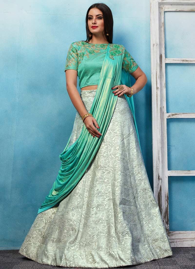 Jacquard Off White and Turquoise Designer Lehenga Choli