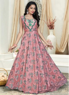 Jacquard Resham Work Readymade Trendy Gown