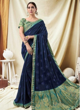 Jacquard Silk Aqua Blue and Navy Blue Designer Contemporary Saree