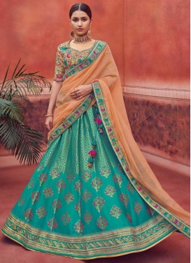 Jacquard Silk Aqua Blue and Peach Embroidered Work A Line Lehenga Choli