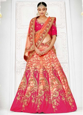 Jacquard Silk Beads Work Coral and Rose Pink Designer Classic Lehenga Choli