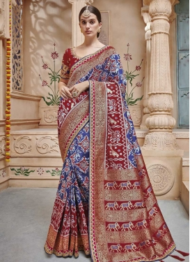 Jacquard Silk Beads Work Traditional Saree