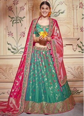 Jacquard Silk Beads Work Trendy Lehenga
