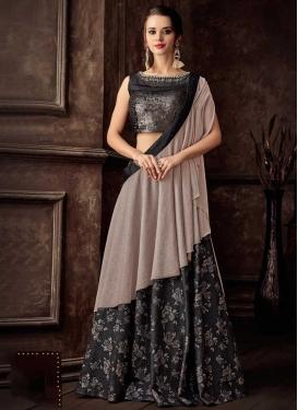 Jacquard Silk Beige and Black Lace Work Lehenga Style Saree