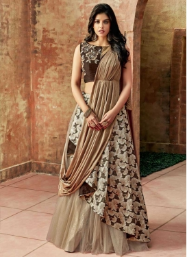 Jacquard Silk Beige and Coffee Brown Embroidered Work Trendy Designer Lehenga Choli