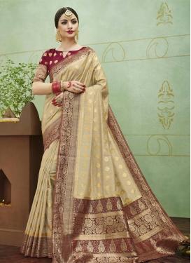 Jacquard Silk Beige and Maroon Thread Work Contemporary Saree