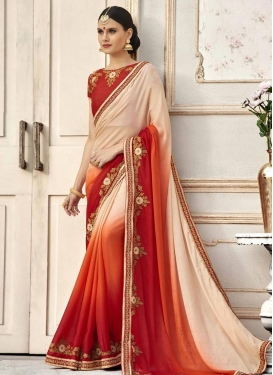 Jacquard Silk Beige and Orange Embroidered Work Contemporary Style Saree