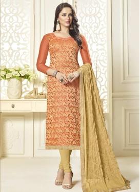 Jacquard Silk Beige and Orange Pakistani Straight Salwar Kameez