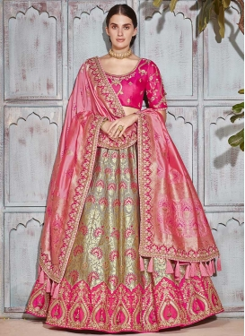 Jacquard Silk Beige and Rose Pink Trendy Lehenga