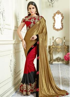 Jacquard Silk Black and Gold Designer Contemporary Saree
