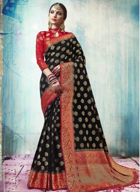 Jacquard Silk Black and Red Thread Work Contemporary Style Saree