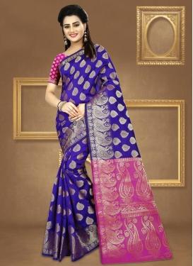 Jacquard Silk Blue and Rose Pink Contemporary Saree For Ceremonial