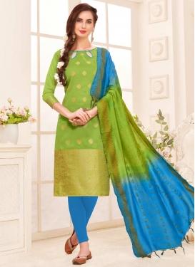 Jacquard Silk Churidar Salwar Kameez