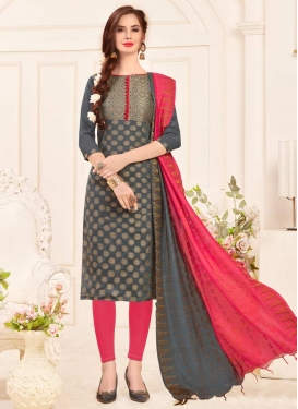 Jacquard Silk Churidar Salwar Suit