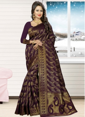Jacquard Silk Contemporary Saree For Ceremonial