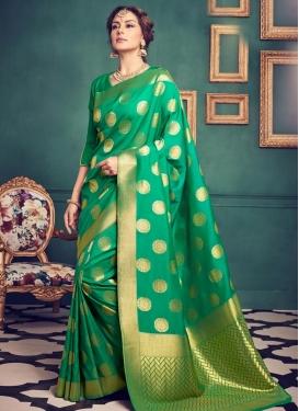 Jacquard Silk Contemporary Style Saree For Ceremonial