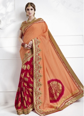 Jacquard Silk Coral and Crimson Lace Work Half N Half Designer Saree