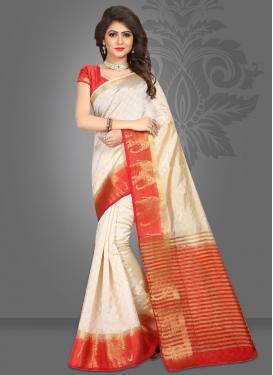 Jacquard Silk Cream and Red Trendy Saree