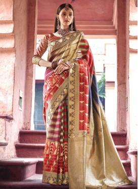 Jacquard Silk Designer Contemporary Style Saree For Ceremonial