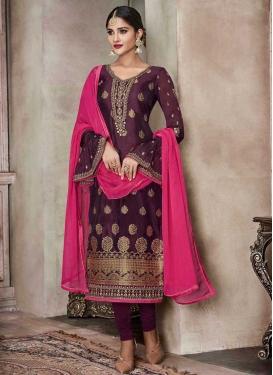 Jacquard Silk Designer Straight Salwar Kameez