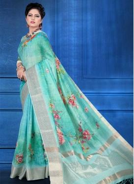 Jacquard Silk Digital Print Work Traditional Saree
