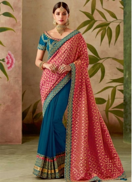 Jacquard Silk Embroidered Work Navy Blue and Rose Pink Half N Half Designer Saree