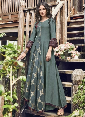 Jacquard Silk Embroidered Work Readymade Classic Gown