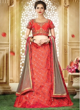 Jacquard Silk Embroidered Work Trendy Lehenga