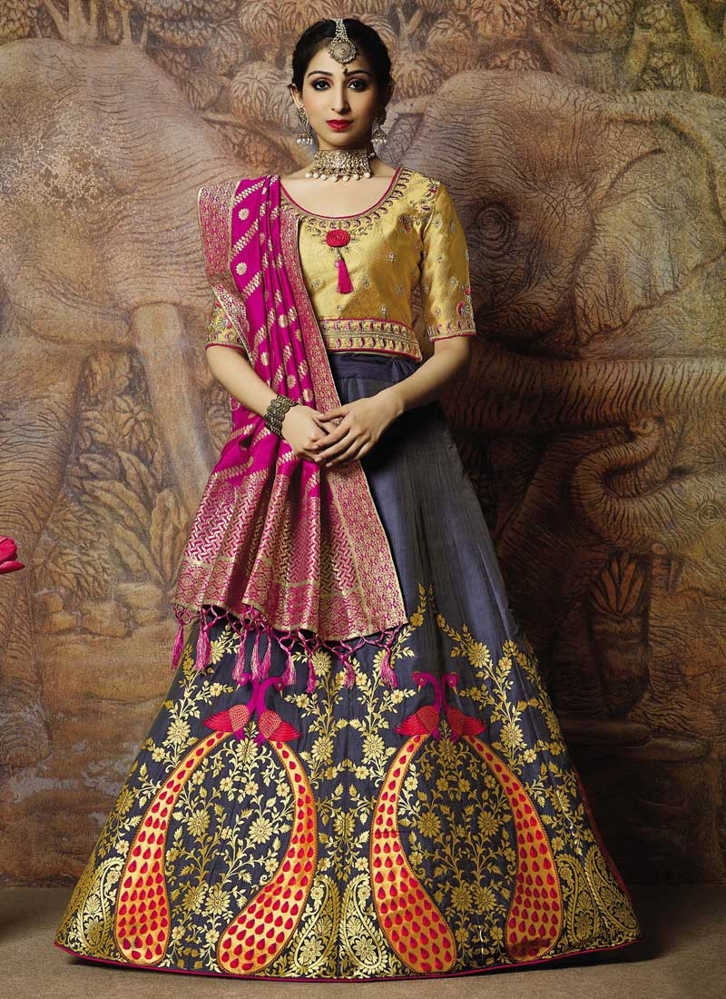 8b3acadcd4 Buy Jacquard Silk Gold and Purple Embroidered Work Lehenga Choli Online