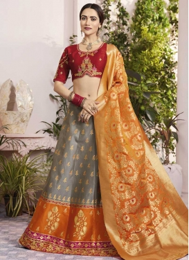 Jacquard Silk Grey and Orange Embroidered Work A - Line Lehenga