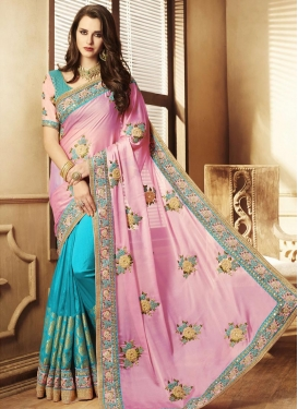 Jacquard Silk Half N Half Saree For Ceremonial