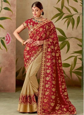 Jacquard Silk Half N Half Trendy Saree