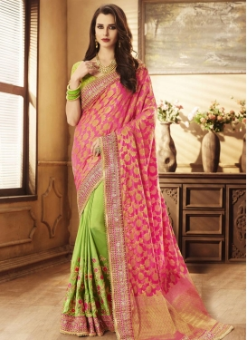 Jacquard Silk Half N Half Trendy Saree For Bridal