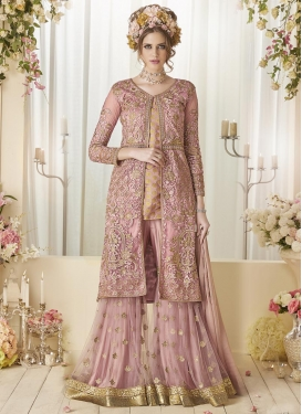 Jacquard Silk  Jacket Style Salwar Suit For Festival