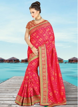 Jacquard Silk Lace Work Contemporary Style Saree