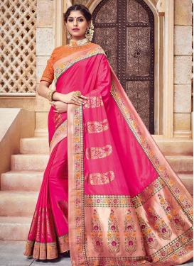 Jacquard Silk Lace Work Traditional Saree