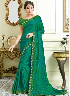 Jacquard Silk Lace Work Traditional Saree