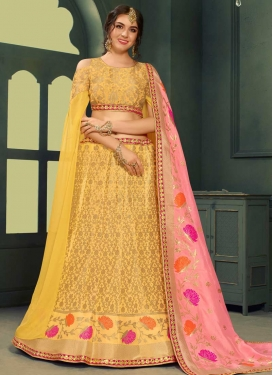 Jacquard Silk Lace Work Trendy A Line Lehenga Choli