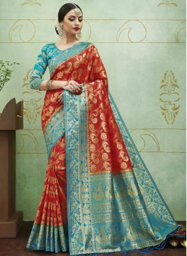 Jacquard Silk Light Blue and Red Thread Work Trendy Saree