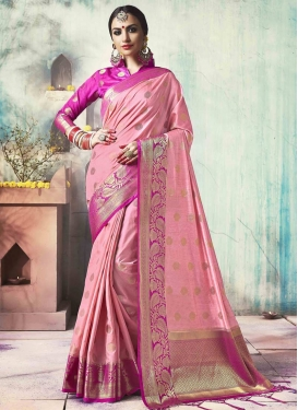 Jacquard Silk Magenta and Pink Thread Work Traditional Saree