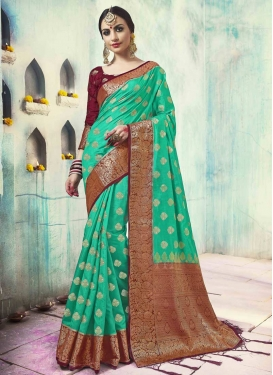 Jacquard Silk Maroon and Turquoise Thread Work Contemporary Style Saree