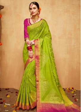 Jacquard Silk Mint Green and Rose Pink Classic Saree For Ceremonial