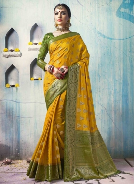 Jacquard Silk Mustard and Olive Classic Saree For Ceremonial