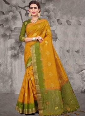 Jacquard Silk Mustard and Olive Designer Contemporary Style Saree