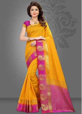 Jacquard Silk Mustard and Rose Pink Thread Work Traditional Saree